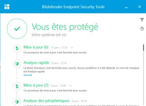Bitdefender interface état de la protection - ACAS
