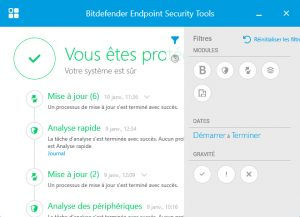 Bitdefender interface état de la protection en fonction des modules actives - ACAS